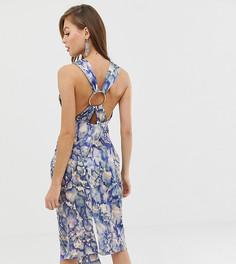 Атласное платье миди с абстрактным принтом ASOS DESIGN - Мульти