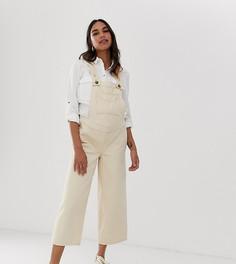 Светло-бежевый джинсовый комбинезон с широкими штанинами ASOS DESIGN Maternity - Светло-бежевый
