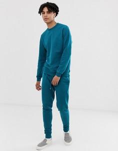 Темно-синий спортивный костюм (свитшот/зауженные джоггеры) ASOS DESIGN - Синий