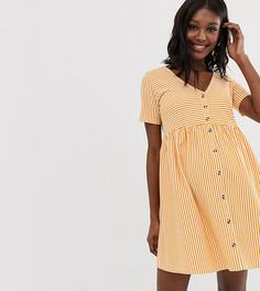 Свободное платье в полоску с пуговицами и V-образным вырезом ASOS DESIGN Maternity - Белый