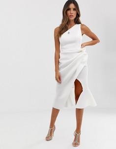 Платье миди с присборенной отделкой на одно плечо ASOS DESIGN - Белый