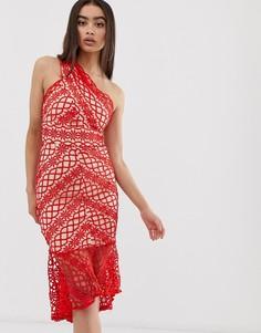 Кружевное платье миди на одно плечо Love Triangle - Красный