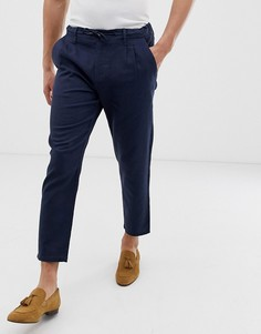 Темно-синие зауженные брюки из ткани на основе льна Only & Sons - Темно-синий
