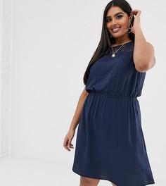 Платье мини с кружевной вставкой Vero Moda Curve - Темно-синий
