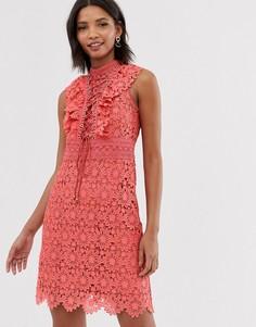 Коралловое кружевное платье-трапеция мини со шнуровкой Forever New - Оранжевый