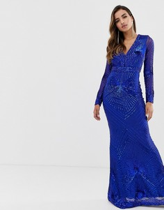 Кобальтовое платье макси с глубоким вырезом, длинными рукавами и пайетками Goddiva - Синий