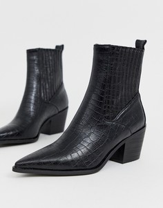 Черные ботинки в стиле вестерн с эффектом крокодиловой кожи RAID Rocco - Черный