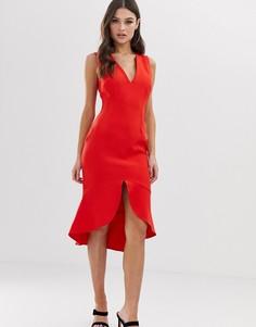 Красное платье миди с оборкой Vesper - Красный