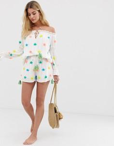Комбинируемые пляжные шорты со звездами разных цветов America & Beyond - Белый