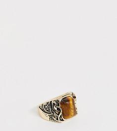 Золотистое кольцо с тиснением и полудрагоценным камнем Reclaimed Vintage inspired эксклюзивно для ASOS - Золотой