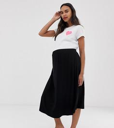 Короткая расклешенная юбка миди ASOS DESIGN Maternity - Черный