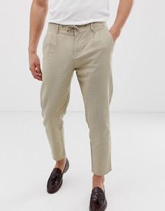 Бежевые зауженные брюки из ткани на основе льна Only & Sons - Бежевый