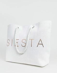 Эксклюзивная пляжная сумка с принтом Siesta цвета розового золота South Beach - Белый