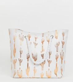 Эксклюзивная пляжная сумка с принтом кактусов цвета розового золота South Beach - Белый