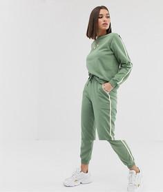 Спортивный костюм из свитшота и джоггеров с контрастной отделкой и завязкой ASOS DESIGN - Larajayne - Зеленый