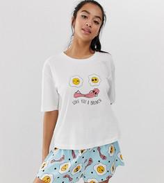 Пижама из футболки с надписью love you a brunch и шортов ASOS DESIGN Petite - Мульти