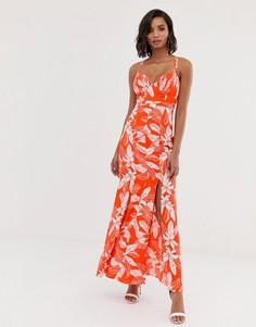Платье макси с цветочным принтом и подолом годе Y.A.S - Мульти