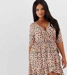Платье с запахом и далматиновым принтом Pink Clove - Бежевый