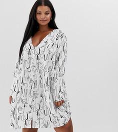 Свободное платье мини на пуговицах с абстрактным принтом ASOS DESIGN Curve - Мульти