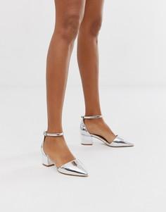 Серебристые туфли на среднем каблуке с перекрещенными ремешками RAID - Julia - Серебряный