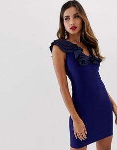 Платье-футляр с глубоким V-образным вырезом Vesper - Темно-синий