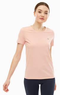 Однотонная хлопковая футболка с короткими рукавами Lacoste