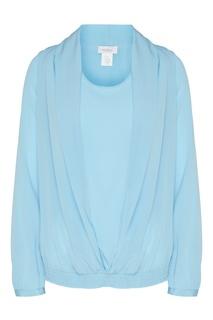 Голубая блузка с эластичной отделкой Van Laack