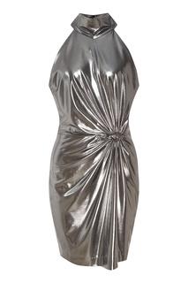 Короткое серебристое платье с драпировкой Laroom