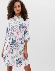 Платье-рубашка с цветочным принтом b.Young - Мульти
