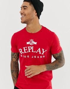 Красная футболка с круглым вырезом Replay Blue Jeans - Красный