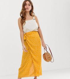 Желтая юбка макси в горошек с запахом и завязкой ASOS DESIGN Petite - Мульти