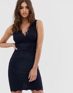 Кружевное облегающее платье миди Lipsy - Темно-синий