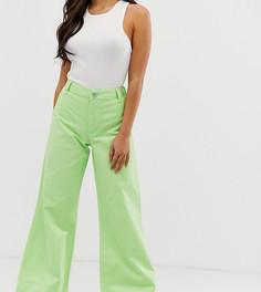 Светло-зеленые неоновые джинсы с широкими штанинами ASOS DESIGN Petite - Зеленый