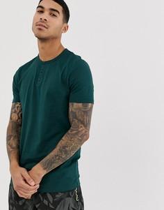 Зеленая футболка из органического хлопка с воротом на пуговицах и короткими рукавами ASOS DESIGN - Зеленый