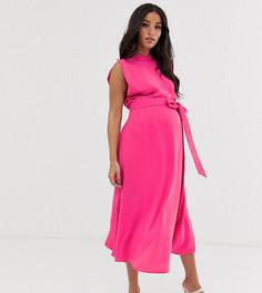 Приталенное платье миди с разрезами на коротких рукавах ASOS DESIGN Maternity - Розовый