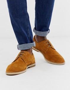 Светло-коричневые замшевые туфли на шнуровке Base London Kinch - Бежевый