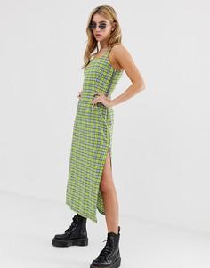 Платье-комбинация макси в клетку с разрезами по бокам и молнией The Ragged Priest - Желтый