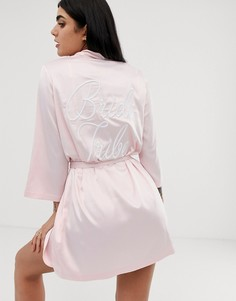 Атласный халат с вышивкой ASOS DESIGN - Розовый