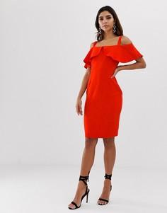 Платье-футляр с оборками и открытыми плечами Vesper - Красный