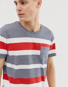 Серая футболка с широкими красными полосками Esprit - Серый