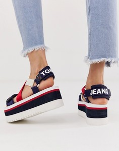 Босоножки на платформе из неопрена с лентой с логотипом Tommy Jeans - Белый