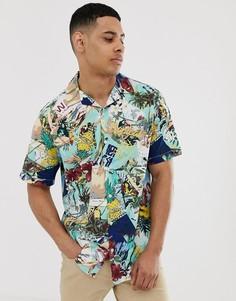 Синяя рубашка с короткими рукавами и тропическим принтом Jack & Jones Originals - Синий