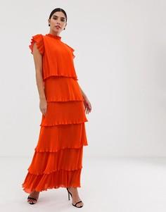 Ярусное платье макси с плиссировкой Y.A.S - Темно-синий