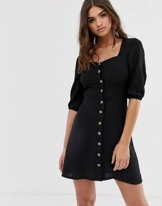 Черное платье мини на пуговицах с вырезом в форме сердца Lipsy - Черный