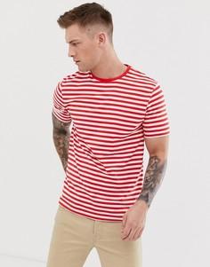 Футболка в полоску с короткими рукавами Only & Sons - Красный