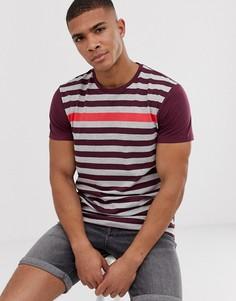 Красная футболка с разноцветными полосками Esprit - Темно-синий