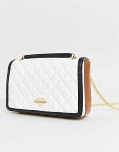 Стеганая сумка на плечо с золотистым логотипом Love Moschino - Белый