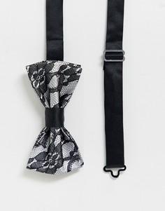 Кружевной галстук-бабочка Devils Advocate - Серебряный