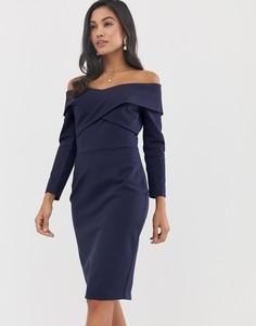 Темно-синее платье миди с открытыми плечами и перекрещенными элементами Lavish Alice - Темно-синий