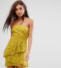 Кружевное платье-бандо миди Missguided - Желтый